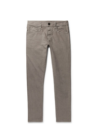 James Perse Grey Slim Fit Pigt Dyed Stretch Cotton Trousers