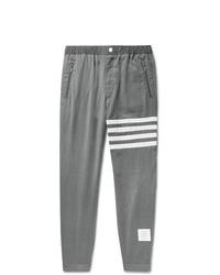 Thom Browne Grey Slim Fit Striped Wool Trousers