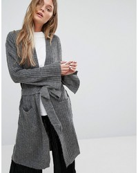 Adpt Driven Long Ribbed Knit Tie Waist Cardigan