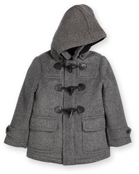 Burberry Burwood Hooded Wool Duffle Coat Gray Size 4y 14y