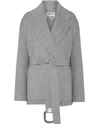 Acne Studios Lilo Doubl Belted Wool And Cashmere Blend Coat Gray
