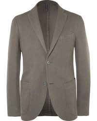 Incotex Green Slim Fit Basketweave Cotton And Ramie Blend Blazer