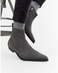 ASOS DESIGN Cuban Heel Western Chelsea Boots In Grey Faux Suede
