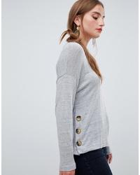 Stradivarius Button Detail Oversized Light Weight Jersey Top