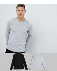 ASOS DESIGN Jumper In Black Light Grey 2 Pack Save