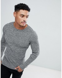 ASOS DESIGN Muscle Fit Ribbed Jumper In Black White Twist