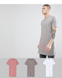 ASOS DESIGN Super Longline T Shirt 3 Pack Save