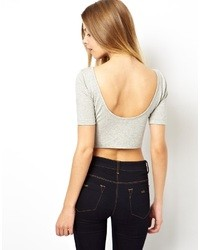 Collection crop top with half sleeve and scoop back medium 11882