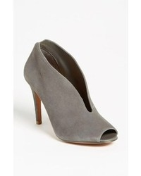 Grey Cutout Suede Ankle Boots