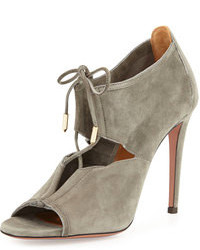 Aquazzura lace me up suede bootie gray medium 104785