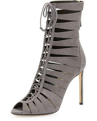 Francesco Russo Suede Lace Up Ladder Bootie