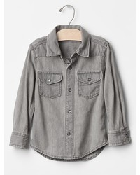Grey Denim Long Sleeve Shirt