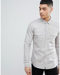 ASOS DESIGN Skinny Western Denim Shirt In Light Grey