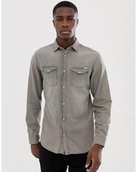 Jack & Jones Slim Fit Denim Shirt In Washed Grey