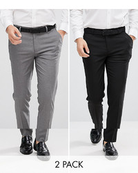 ASOS DESIGN 2 Pack Skinny Smart Trousers In Black And Grey Save