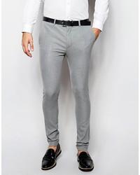 Asos Brand Wedding Super Skinny Suit Pants In Gray