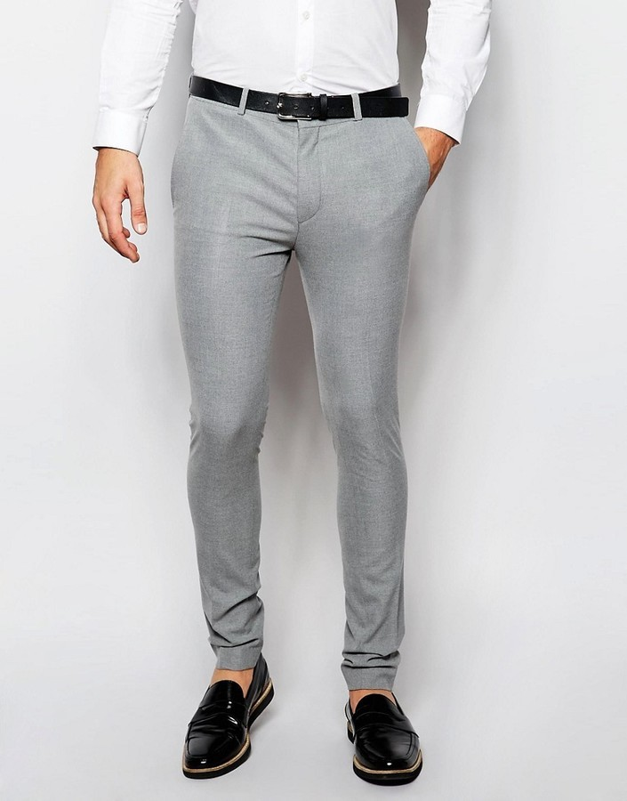 Asos Brand Wedding Super Skinny Suit Pants In Gray | Where to buy ...