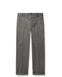Thom Browne Grey Cropped Cotton Twill Trousers