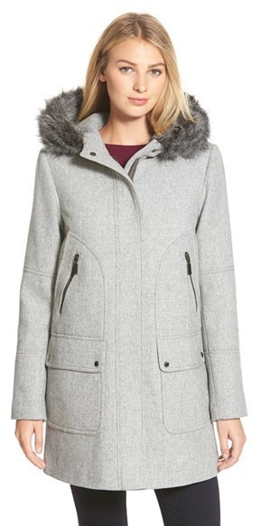 b549002bcbc05 Vince Camuto Faux Fur Trim Hooded Wool Blend Duffle Coat, £182 ...