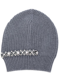 No.21 No21 Crystal Embellished Ribbed Beanie