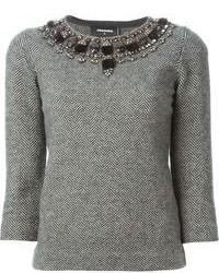 Grey Embellished Crew-neck Sweater