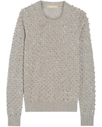 Michael Kors Michl Kors Collection Crystal Embellished Cashmere Sweater Gray