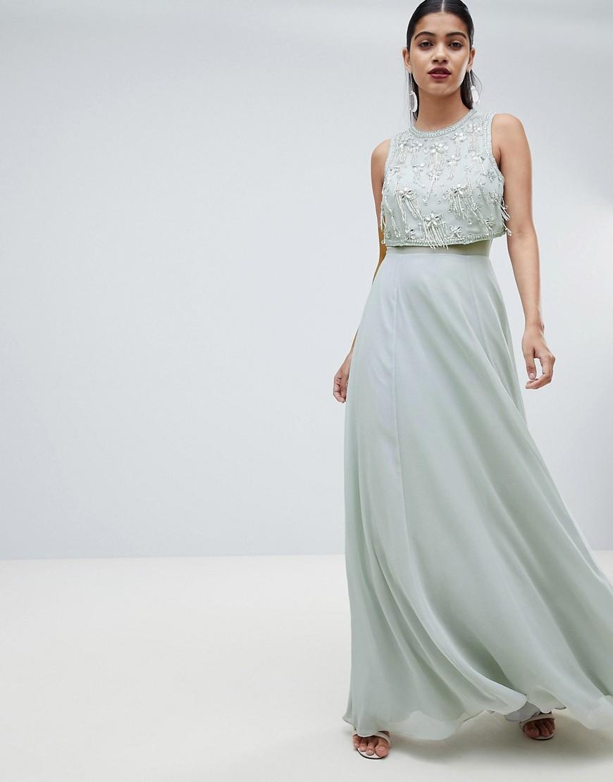 84b3b12e5f2 ... ASOS DESIGN Star Embellished Crop Top Maxi Dress
