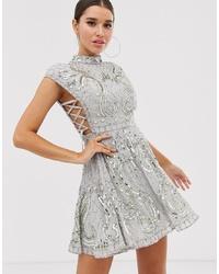 ASOS DESIGN Cut Out Side Lace Up Embellished Mini Skater Dress