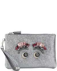 Grey Embellished Leather Clutch