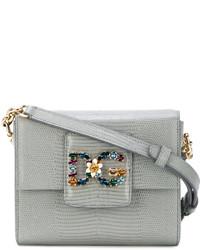Grey Embellished Leather Crossbody Bag