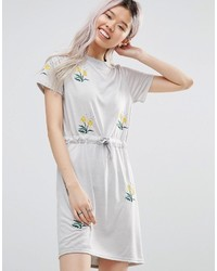 Daisy Street T Shirt Dress With Floral Embroidery