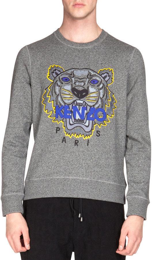 e9990de0 Kenzo Embroidered Tiger Icon Crewneck Sweatshirt Gray, £243 ...