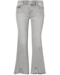 Current/Elliott The Kick Cropped Distressed Flared Jeans