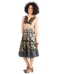Grey Floral Midi Skirt