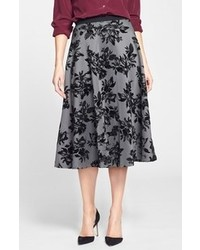 Textured print full midi skirt medium 111384