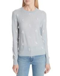 Grey Fringe Crew-neck Sweater