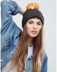 Asos Rib Beanie With Colored Fur Pom
