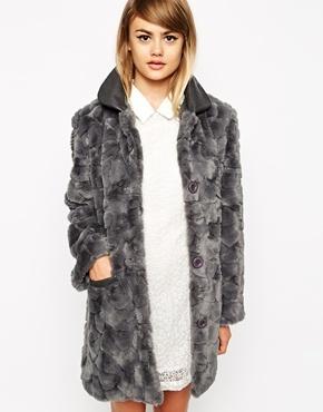 054e5aeb9d6da ... Grey Fur Coats Little White Lies Faux Fur Coat With Pu Collar ...
