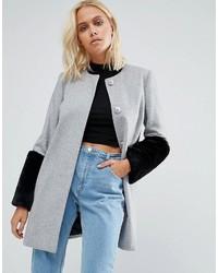Helene Berman Faux Fur Cuff Coat In Gray With Black Fur
