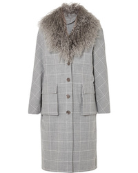Lela Rose Shearling Trimmed Checked Woven Coat