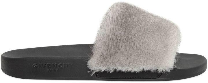 Givenchy Mink Fur   Rubber Slide Sandals  619fc37c3
