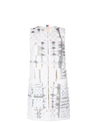 Thom Browne Sleeveleshort Sleeve Cardigan Coat In Long Sheared Mink Fur Applique On Tulle