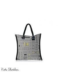 Grey Geometric Canvas Tote Bag