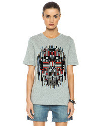 Geometric cotton skull tee in grey medium 40422