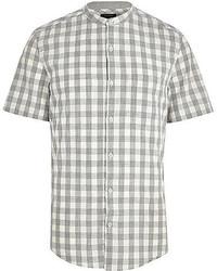 Grey Gingham Short Sleeve Shirt