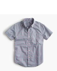 J.Crew Kids Short Sleeve Secret Wash Shirt In Micro Gingham