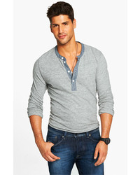 Todd Snyder Classic Henley Grey Heather Large