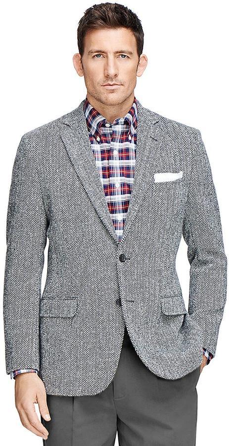 Brooks Brothers Fitzgerald Fit Harris Tweed Herringbone Sport Coat ...