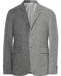 Grey slim fit herringbone wool tweed suit jacket medium 199334