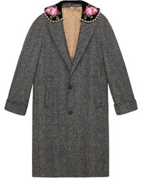 Herringbone coat with embroidery medium 6464607